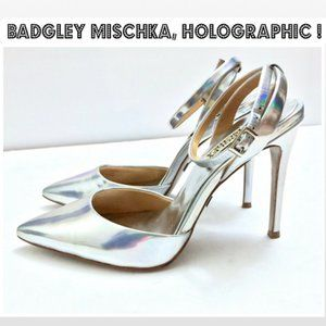 BADGLEY MISCHKA Silver Holographic Pumps Size 6.5